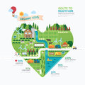 Infographic health care heart shape template design.route Royalty Free Stock Photo