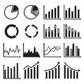 Infographic icons charts and graphs set of vector illustration Royalty Free Stock Photos