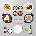 Infographic korea foods business flat lay idea vector illustration hipster concept can be used for layout advertising and web Stock Photo