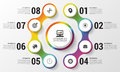 Infographic. Modern design template. Colorful circle with icons. Vector illustration