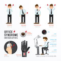 Infographic office syndrome Template Design . Concept Vector ill Royalty Free Stock Photo