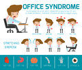 Infographic office syndrome Template Design,. health concept. infographic element. vector flat icons cartoon design. illustration.