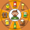 Infographic_set of beer icons and man