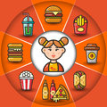 Infographic_set of fast food icons and woman
