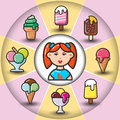 Infographic_set of ice cream icons and woman