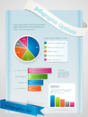 Infographic set layout background with pie bar charts and banners on a blue panel Royalty Free Stock Images