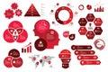 Infographic set red color scheme business graph arrow elements chart visualization