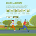 Infographic set with runners and training elements. Vector fitness man and woman