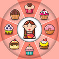 Infographic_set of sweet icons and woman
