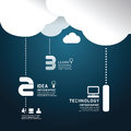 Infographic technology cloud paper cut style template concept vector illustration Stock Image