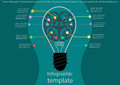 Vector infographic template bulb and brain the idea of business communication for success. lines with colorful graphics icon. Royalty Free Stock Photo