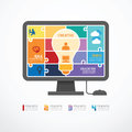 Infographic template computer jigsaw banner conc concept vector Royalty Free Stock Photo