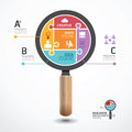Infographic template with magnifier jigsaw banner concept illustration Royalty Free Stock Photo