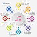 Infographic template with music icons
