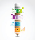 Infographic template with pencil geometric banner concept vector illustration Royalty Free Stock Image