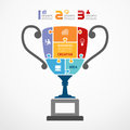 Infographic template with trophy jigsaw banner concept vector illustration Royalty Free Stock Photo