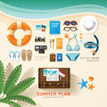 Infographic travel planning a summer vacation business flat lay