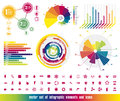 Infographic vector set of elements and icons in colors of rainbow Royalty Free Stock Images
