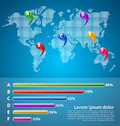 Infographic with world map and pointers Royalty Free Stock Images