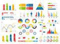 Infographics chart set. Charts result graphs icons statistics financial data diagrams. Isolated analysis vector elements