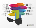 Infographics. Creative head. Colorful arrows with icons. Vector Royalty Free Stock Photo
