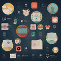 Infographics elements: Collection of colorful flat kit UI navigation elements with icons for personal portfolio website and mobile Royalty Free Stock Photo