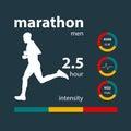 Infographics man running marathon