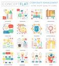 Infographics mini concept corporate managment icons for web. Premium quality color conceptual flat design web graphics