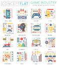 Infographics mini concept Game industry icons for web. Premium quality color conceptual flat design web graphics icons