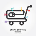 Infographics  online shopping design diagram line style. Royalty Free Stock Photo
