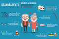 Infographics Retired elderly senior age couple.