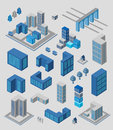 Infographics set isometric of elements for on gray Stock Photos