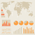 Infographics and statistics with charts world map Stock Images