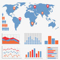 Infographics and statistics icons and world map Royalty Free Stock Images