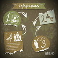 Infographics with torn pieces of paper in vintage style scrapbooking Royalty Free Stock Photo