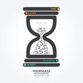Infographics vector hourglass design diagram line style template money time concept Stock Photo