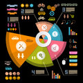 Infographics vector layout with icons elements on black background Royalty Free Stock Photography