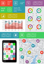 Infographics and web elements featuring flat design eps vector illustration Stock Images