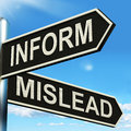 Inform Mislead Signpost Means Let Know Or Misguide Royalty Free Stock Photography