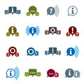 Information analyzing collecting and exchange theme icon set analyze solution dialog speech bubble vector conceptual Stock Images