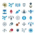 Information analyzing collecting and exchange theme icon set analyze solution vector conceptual unusual symbols for your Royalty Free Stock Photography