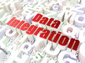 Information concept data integration on alphabet background d render Royalty Free Stock Photos