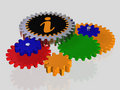 Information icon with gears Royalty Free Stock Photo