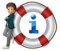 Information icon illustration of boy and Stock Images
