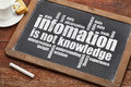 Information is not knowledge a quote from albert einstein and a related word cloud on a vintage slate blackboard Royalty Free Stock Image