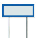 Information Road Sign Isolated, Blank Empty Signpost Copy Space For Icons, Pictograms, Large Roadside Info Signage Pole Post