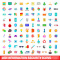100 information security icons set, cartoon style