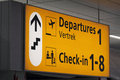 Information sign for toerists airport check in and departure Royalty Free Stock Photography