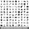 100 information technology icons set, simple style