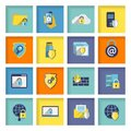 Information technology security icons set flat of cloud network connection firewall isolated vector illustration Royalty Free Stock Photography